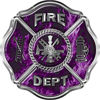 Traditional Fire Department Fire Fighter Maltese Cross Sticker / Decal in Purple Inferno Flames