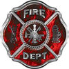Traditional Fire Department Fire Fighter Maltese Cross Sticker / Decal in Red Inferno Flames