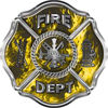 Traditional Fire Department Fire Fighter Maltese Cross Sticker / Decal in Yellow Inferno Flames