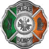 Traditional Fire Department Fire Fighter Maltese Cross Sticker / Decal with Irish Flag