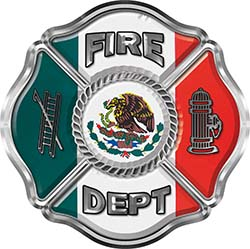 Traditional Fire Department Fire Fighter Maltese Cross Sticker / Decal with Mexico Flag