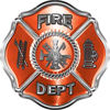 Traditional Fire Department Fire Fighter Maltese Cross Sticker / Decal in Orange