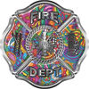 Traditional Fire Department Fire Fighter Maltese Cross Sticker / Decal with Psychedelic Art