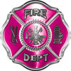 Traditional Fire Department Fire Fighter Maltese Cross Sticker / Decal in Pink