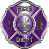 Traditional Fire Department Fire Fighter Maltese Cross Sticker / Decal in Purple
