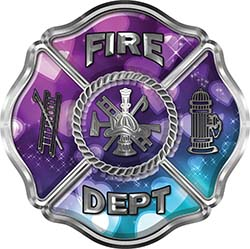 Traditional Fire Department Fire Fighter Maltese Cross Sticker / Decal with Hearts