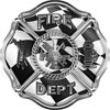 Traditional Fire Department Fire Fighter Maltese Cross Sticker / Decal with Racing Flag