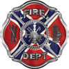 Traditional Fire Department Fire Fighter Maltese Cross Sticker / Decal with Confederate Rebel Flag
