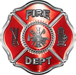Traditional Fire Department Fire Fighter Maltese Cross Sticker / Decal in Red