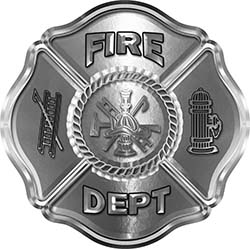 Traditional Fire Department Fire Fighter Maltese Cross Sticker / Decal in Silver