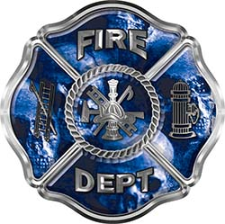 Traditional Fire Department Fire Fighter Maltese Cross Sticker / Decal with Blue Evil Skulls