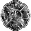 Traditional Fire Department Fire Fighter Maltese Cross Sticker / Decal with Gray Evil Skulls