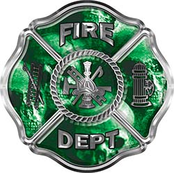 Traditional Fire Department Fire Fighter Maltese Cross Sticker / Decal with Green Evil Skulls