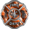 Traditional Fire Department Fire Fighter Maltese Cross Sticker / Decal with Orange Evil Skulls