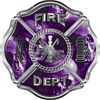 Traditional Fire Department Fire Fighter Maltese Cross Sticker / Decal with Purple Evil Skulls
