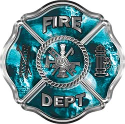 Traditional Fire Department Fire Fighter Maltese Cross Sticker / Decal with Teal Evil Skulls