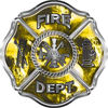 Traditional Fire Department Fire Fighter Maltese Cross Sticker / Decal with Yellow Evil Skulls