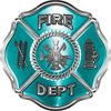 Traditional Fire Department Fire Fighter Maltese Cross Sticker / Decal in Teal