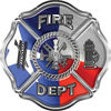 Traditional Fire Department Fire Fighter Maltese Cross Sticker / Decal with Texas Flag