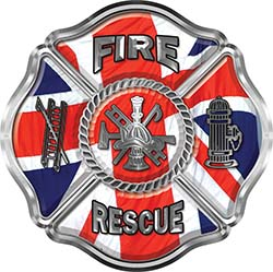 Traditional Fire Rescue Fire Fighter Maltese Cross Sticker / Decal with British Flag