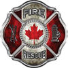 Traditional Fire Rescue Fire Fighter Maltese Cross Sticker / Decal with Canadian Flag