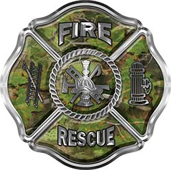 Traditional Fire Rescue Fire Fighter Maltese Cross Sticker / Decal in Camouflage