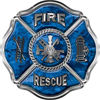 Traditional Fire Rescue Fire Fighter Maltese Cross Sticker / Decal in Blue Camouflage