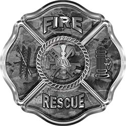 Traditional Fire Rescue Fire Fighter Maltese Cross Sticker / Decal in Gray Camouflage