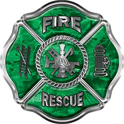 Traditional Fire Rescue Fire Fighter Maltese Cross Sticker / Decal in Green Camouflage