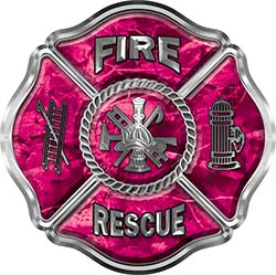 Traditional Fire Rescue Fire Fighter Maltese Cross Sticker / Decal in Pink Camouflage