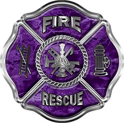 Traditional Fire Rescue Fire Fighter Maltese Cross Sticker / Decal in Purple Camouflage