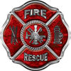 Traditional Fire Rescue Fire Fighter Maltese Cross Sticker / Decal in Red Camouflage