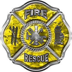Traditional Fire Rescue Fire Fighter Maltese Cross Sticker / Decal in Yellow Camouflage