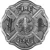 Traditional Fire Rescue Fire Fighter Maltese Cross Sticker / Decal in Diamond Plate