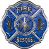Traditional Fire Rescue Fire Fighter Maltese Cross Sticker / Decal in Blue Diamond Plate