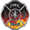 Traditional Fire Rescue Fire Fighter Maltese Cross Sticker / Decal in Fire Diamond Plate