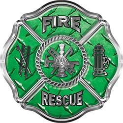 Traditional Fire Rescue Fire Fighter Maltese Cross Sticker / Decal in Green Diamond Plate