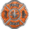 Traditional Fire Rescue Fire Fighter Maltese Cross Sticker / Decal in Orange Diamond Plate