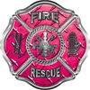 Traditional Fire Rescue Fire Fighter Maltese Cross Sticker / Decal in Pink Diamond Plate