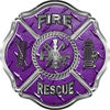 Traditional Fire Rescue Fire Fighter Maltese Cross Sticker / Decal in Purple Diamond Plate