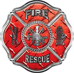Traditional Fire Rescue Fire Fighter Maltese Cross Sticker / Decal in Red Diamond Plate