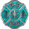Traditional Fire Rescue Fire Fighter Maltese Cross Sticker / Decal in Teal Diamond Plate