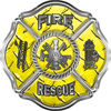 Traditional Fire Rescue Fire Fighter Maltese Cross Sticker / Decal in Yellow Diamond Plate