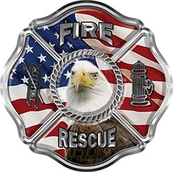 Traditional Fire Rescue Fire Fighter Maltese Cross Sticker / Decal with Bald Eagle and American Flag