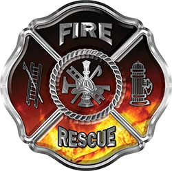 Traditional Fire Rescue Fire Fighter Maltese Cross Sticker / Decal with Real Fire