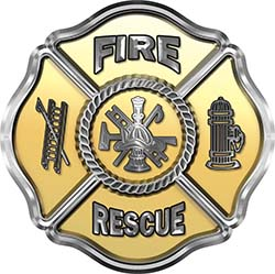 Traditional Fire Rescue Fire Fighter Maltese Cross Sticker / Decal in Gold