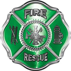 Traditional Fire Rescue Fire Fighter Maltese Cross Sticker / Decal in Green