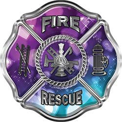 Traditional Fire Rescue Fire Fighter Maltese Cross Sticker / Decal with Hearts