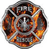Traditional Fire Rescue Fire Fighter Maltese Cross Sticker / Decal in Inferno Flames