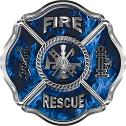 Traditional Fire Rescue Fire Fighter Maltese Cross Sticker / Decal in Blue Inferno Flames